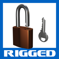 Padlock: Rigged  with Key 3D Model
