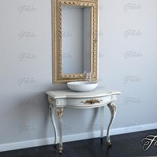 Bath cabinet 01 + mirror 3D Model