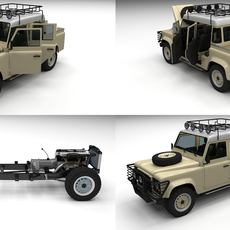 Full Land Rover Defender 110 Double Cab Pick Up 3D Model