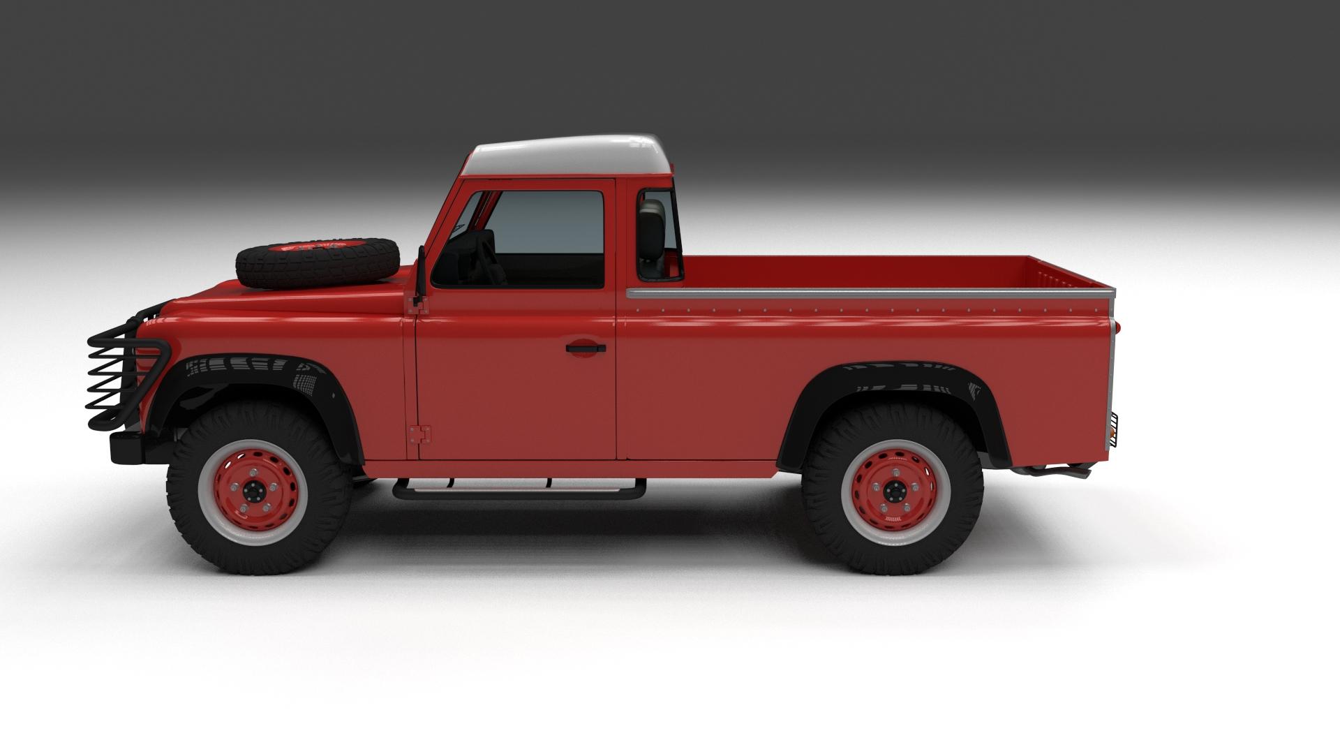 full land rover defender 110 pick up 3d model. Black Bedroom Furniture Sets. Home Design Ideas