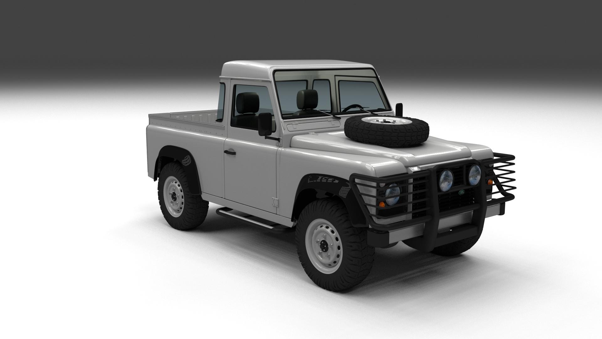 full land rover defender 90 pick up 3d model. Black Bedroom Furniture Sets. Home Design Ideas