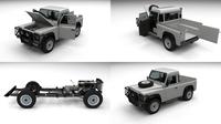 Full Land Rover Defender 90 Pick Up 3D Model