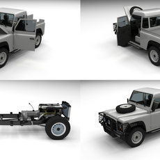 Full Land Rover Defender 90 Pick Up 3D Model