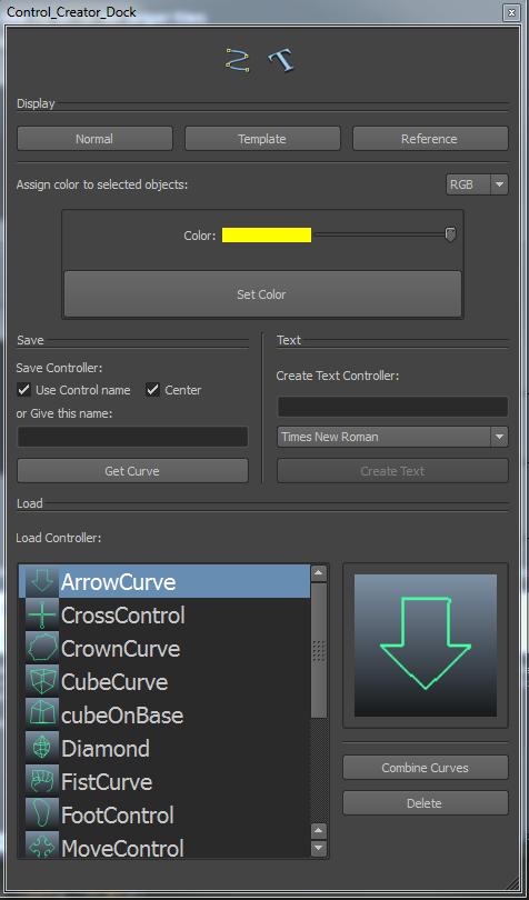 Control curve creator UI for Maya