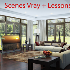 living room V-ray Interior scene video tutorial and scene files for 3dsmax