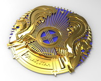 Coat of Arms of Republic of Kazakhstan 3D Model