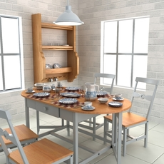 Tableware with Table and Chairs 3D Model