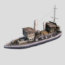 old cargo ship 01 3D Model