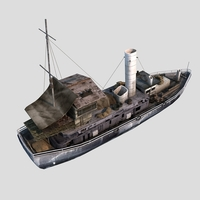 Old Cargo Ship 02 3D Model
