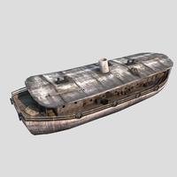 old cargo ship 03 3D Model