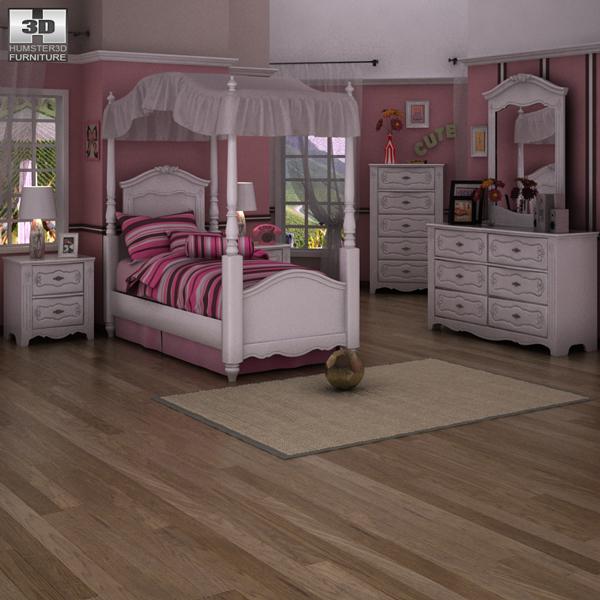 ashley exquisite bedroom set 3d model