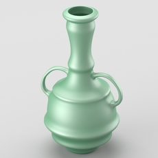 Decorative shiny vase in green tones 3D Model
