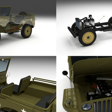 Full (w chassis) Jeep Willys MB Military 3D Model