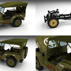 Full (w chassis) Jeep Willys MB Military Top 3D Model