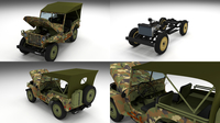 Full (w chassis) Jeep Willys MB Military Camo 3D Model