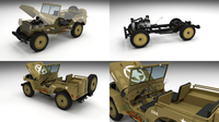 Full (w chassis) Jeep Willys MB Military Desert 3D Model