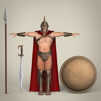 Realistic Spartan Warrior 3D Model