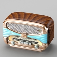 Retro radio in art deco style 3D Model
