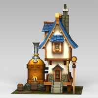 Low Poly Fantasy Home 3D Model