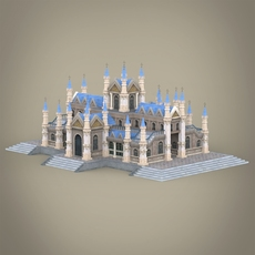 Fantasy Low Poly Church Building 3D Model