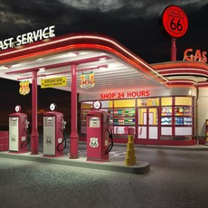 Gas Station Route66 at day and night 3D Model