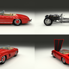 Fully Modelled Mercedes 300SL Roadster Red 3D Model