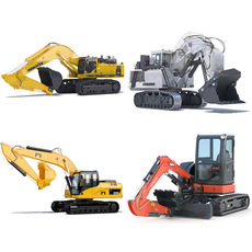 Excavators Collection 1 3D Model