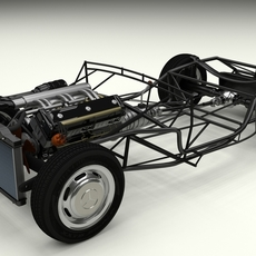 Mercedes 300SL Roadster Chassis 3D Model
