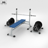 Weight Bench with Weights 3D Model