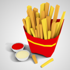Low Poly French Fries 3D Model