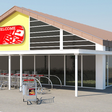 Super Market Building With Parking Space 3D Model