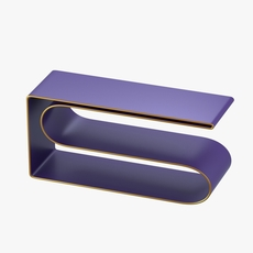 Modern shelf in violet and gold 3D Model