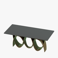 Modern table with curved metallic legs 3D Model
