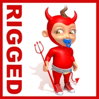 Devil Baby Cartoon Rigged 3D Model