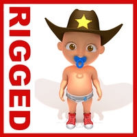 Cowboy baby Cartoon Rigged 3D Model