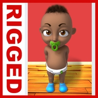 Black baby Cartoon Rigged 3D Model