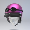 09 59 50 75 helmet motorcycle oldschool retro caferacer pink face0002 4