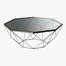 Geometric Antique Brass Coffee Table with Glass Top 3D Model