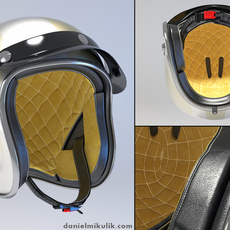 White Retro Motorcycle Helmet 3D Model