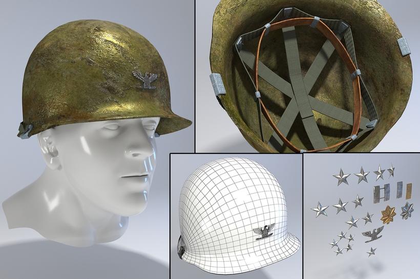 USA Army Helmet from Korea War 3D Model