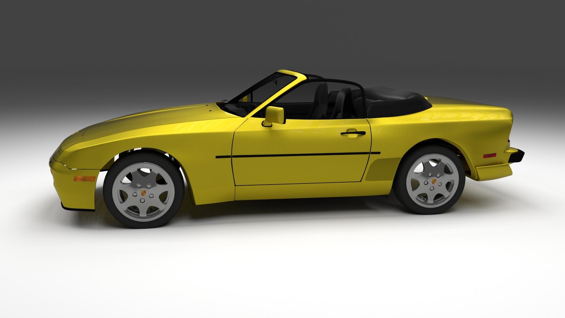 porsche 944 cabrio with interior 3d model. Black Bedroom Furniture Sets. Home Design Ideas