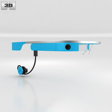 Google Glass with Mono Earbud Sky 3D Model