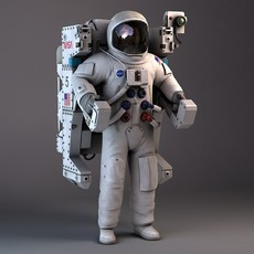 NASA Astronaut with MMU Backpack Rigged for Maya 3D Model