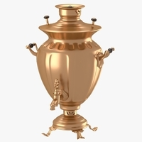 Decorated samovar with handles 3D Model