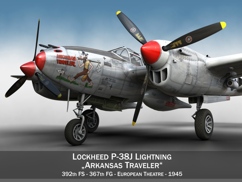 Lockheed P-38 Lightning - Arkansas Traveler 3D Model