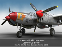 Lockheed P-38 Lightning - Beautiful Bitch 3D Model