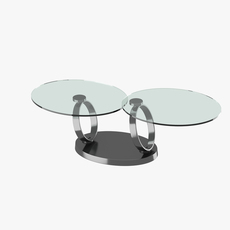 Modern table with two glass tabletops 3D Model