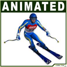 White Skier CG 3D Model