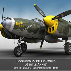 Lockheed P-38 Lightning - Gentle Annie 3D Model