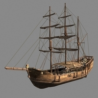 Chinese old ship 01 3D Model